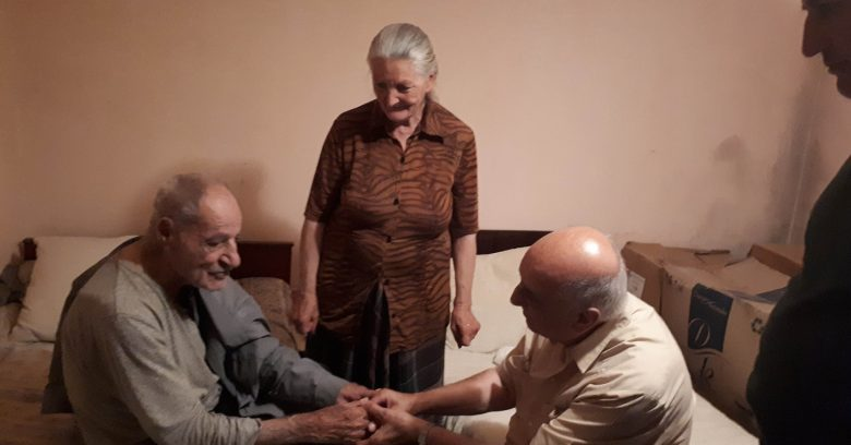 One of our favourite people is 98-year-old Kevork! He prayed for Pastor Joseph and blessed us so much with his warm, sweet words. That's his daughter smiling down at him.